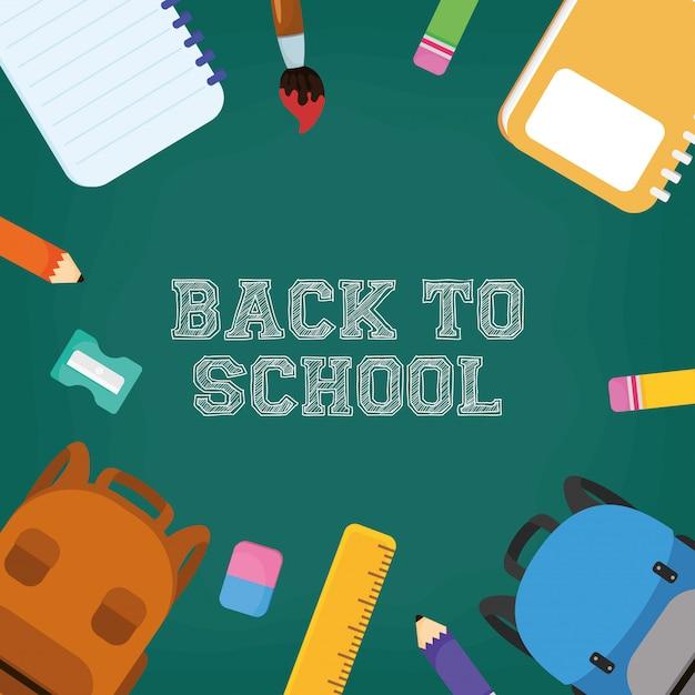 Terug naar school poster met kleuren potloden Premium Vector