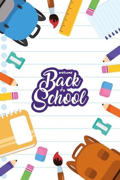 Terug naar school poster met schooltassen en benodigdheden Premium Vector