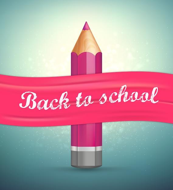 Terug naar school. realistisch potlood, roze lint. Premium Vector