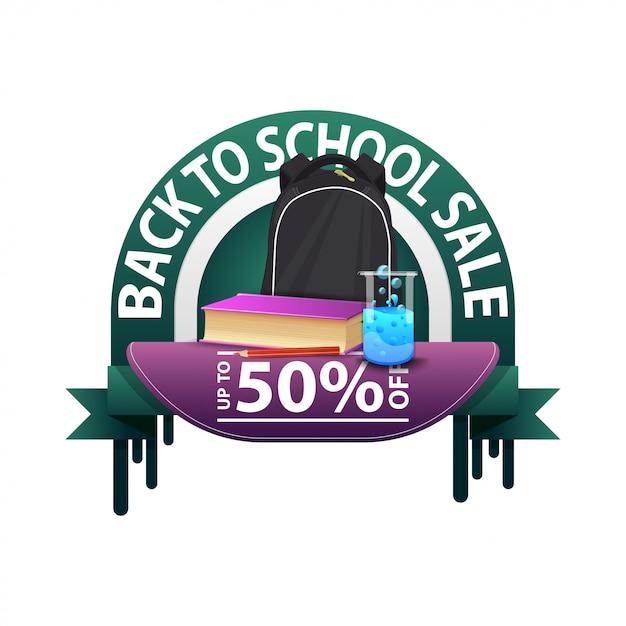 Terug naar school, ronde kortingsbanner voor uw website met schoolrugzak Premium Vector