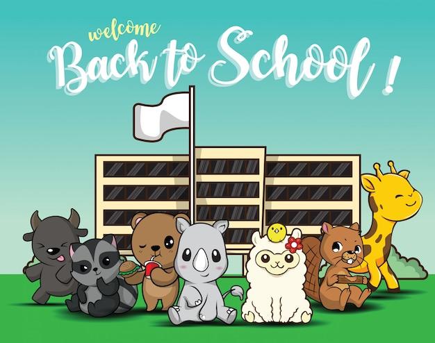 Terug naar school., schattige dieren cartoon. Premium Vector