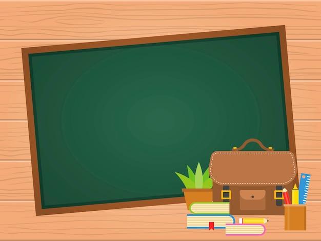 Terug naar school schoolbord achtergrond Premium Vector