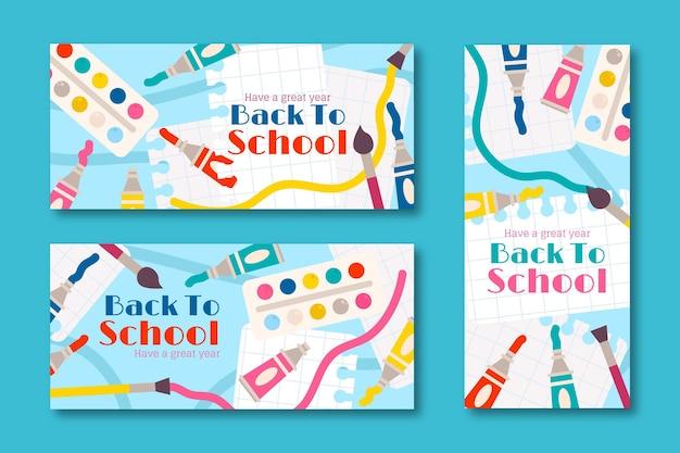 Terug naar school sjabloon voor spandoek Gratis Vector