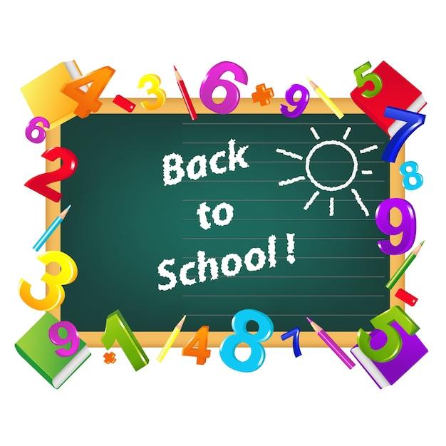 Terug naar school sjabloonontwerp van schoolbestuur, kleurpotloden, cijfers, leerboeken, op wit Premium Vector
