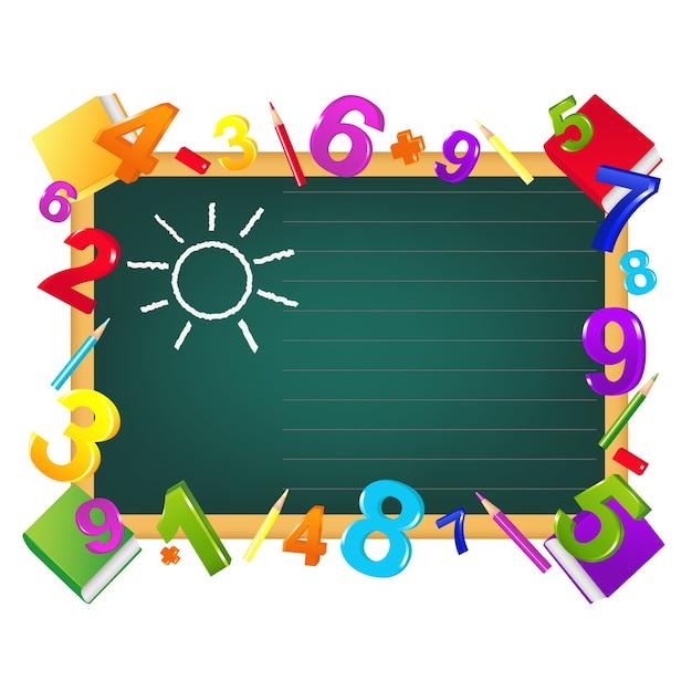 Terug naar school-sjabloonontwerp van schoolbord, kleurpotloden, cijfers, leerboeken, op wit Premium Vector