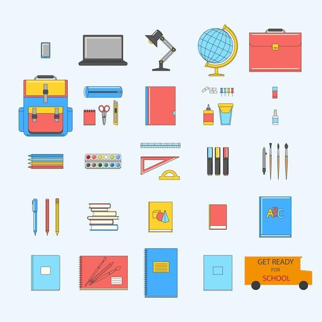 Terug naar school stel pictogrammen in Premium Vector
