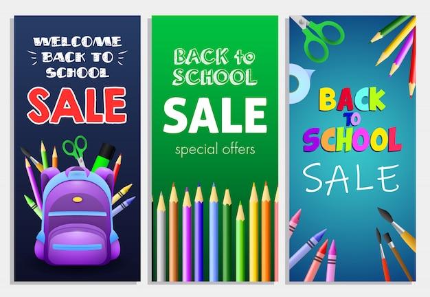 Terug naar school te koop beletteringen set met rugzak, potloden Gratis Vector