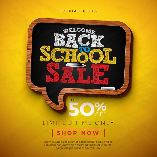 Terug naar school te koop ontwerp met schoolbord en typografie brief op gele achtergrond Gratis Vector