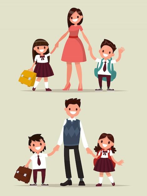 Terug naar school. tekenset. ouders met hun kinderen schoolkinderen. Premium Vector