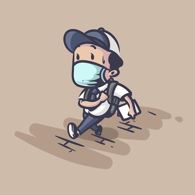 Terug naar school tijdens pandemie illustratie Premium Vector