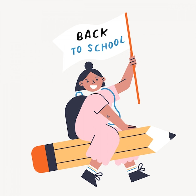 Terug naar school vectorillustratie met kind en potlood. meisje houdt vlag en vliegt op de pen. platte ontwerp kleurrijke illustratie. Premium Vector