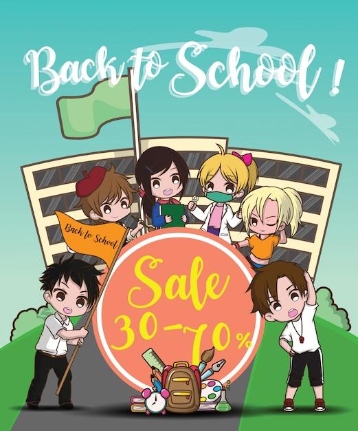 Terug naar school verkoop banner Premium Vector