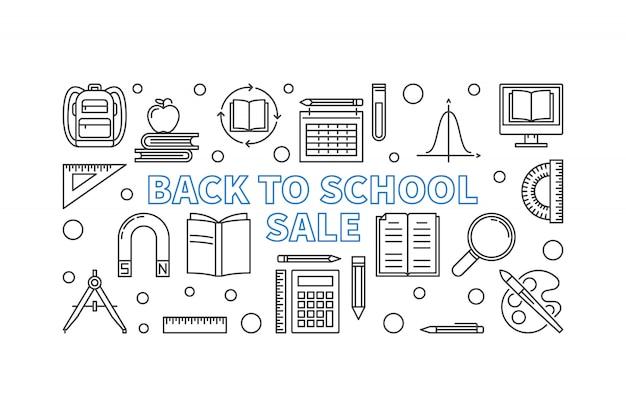 Terug naar school verkoop concept overzicht banner Premium Vector