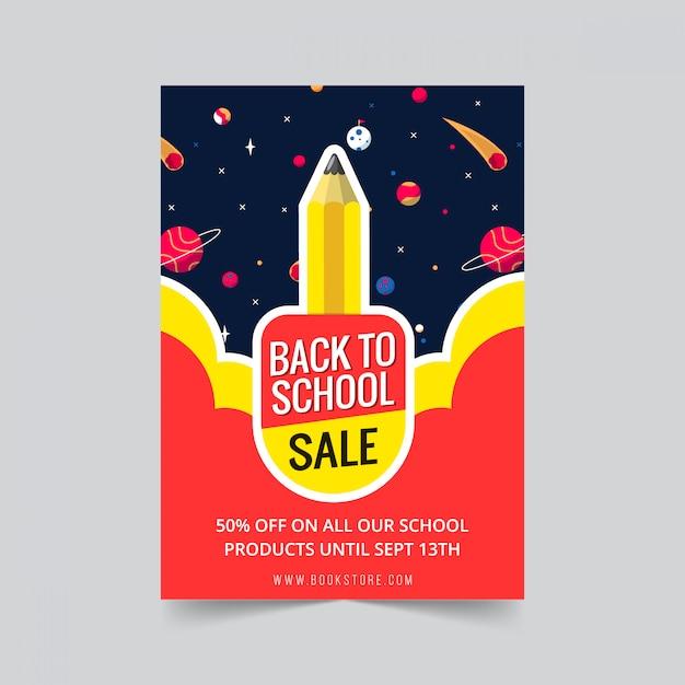 Terug naar school verkoop flyer sjabloonontwerp met potlood raket ruimte Premium Vector