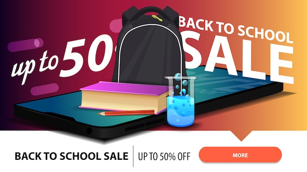 Terug naar school verkoop, moderne korting webbanner Premium Vector
