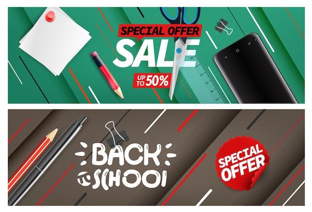 Terug naar school verkoop, speciale aanbieding banner set Premium Vector