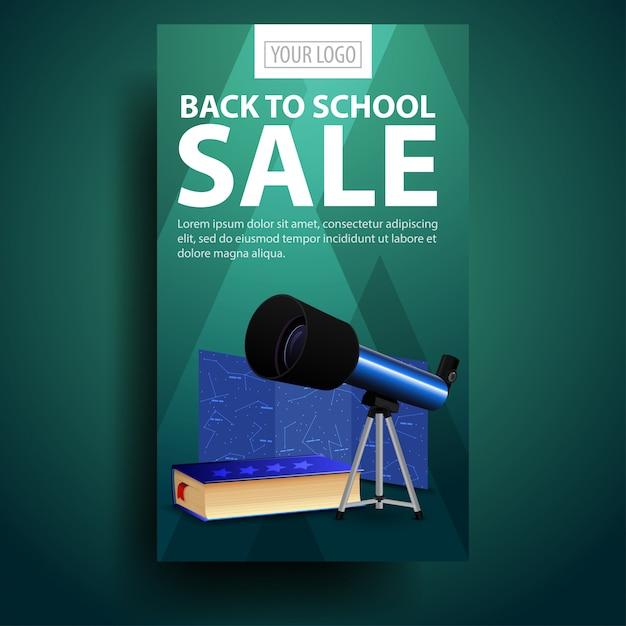 Terug naar school verticale banner met telescoop Premium Vector