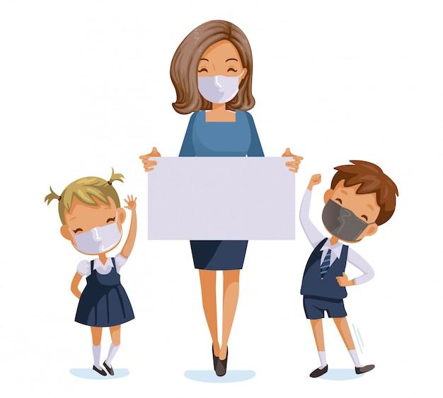 Terug naar school voor een nieuw normaal concept. kinderen en leraren dragen hygiënische maskers. Premium Vector
