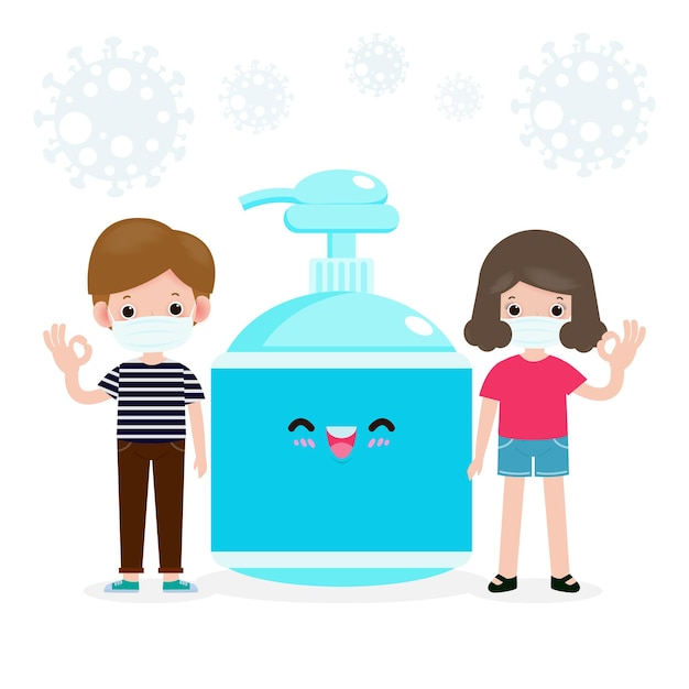 Terug naar school voor een nieuw normaal levensstijlconcept. gelukkige studenten leuke tieners die een gezichtsmasker en alcoholgel of handwasgel dragen en sociale afstand nemen beschermen coronavirus of covid-19 gezonde achtergrond Premium Vector