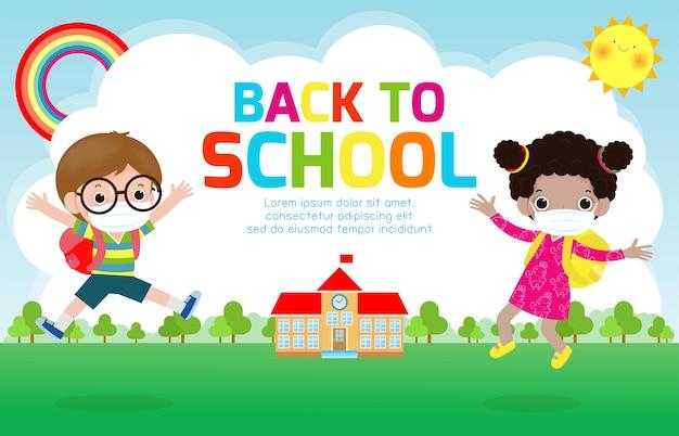 Terug naar school voor een nieuw normaal levensstijlconcept. Premium Vector