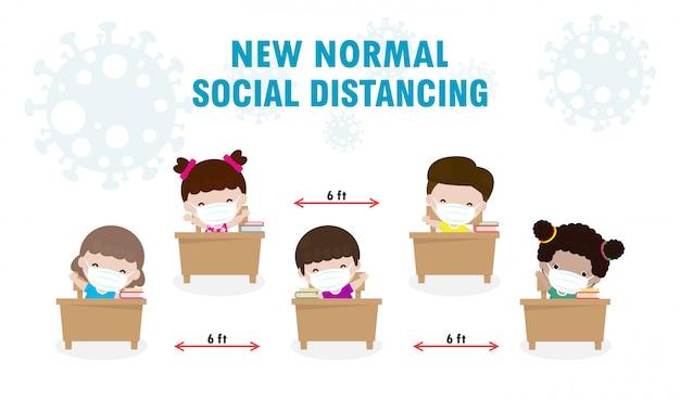 Terug naar school voor nieuwe normale levensstijl sociale afstand in klaslokaal concept, preventietips infographic van coronavirus 2019 ncov. kleine jongen en meisje met masker zittend op het bureau in de klas Premium Vector