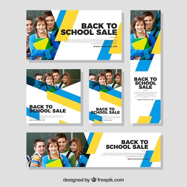Terug naar school webbanners collectie met foto Gratis Vector