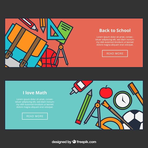 Terug naar school webbanners Gratis Vector
