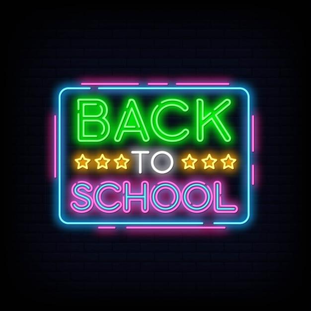 Terug naar school wenskaart ontwerpsjabloon neon Premium Vector