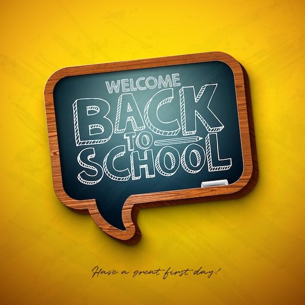 Terug naar school zin met schoolbord en typografie letters op geel Premium Vector