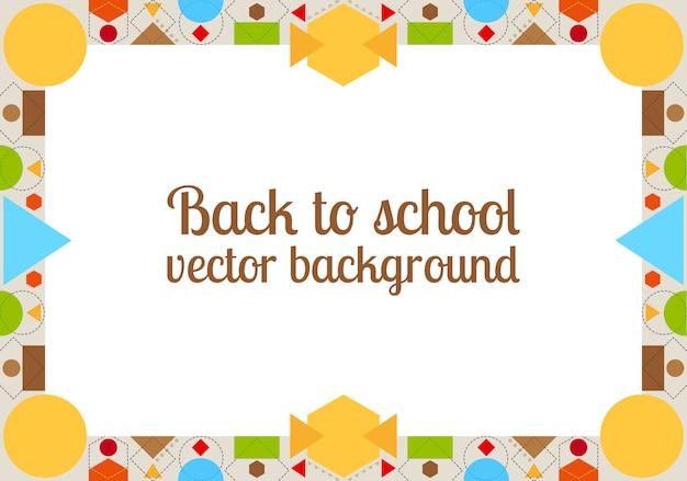 Terug naar schoolachtergrond met frame Premium Vector