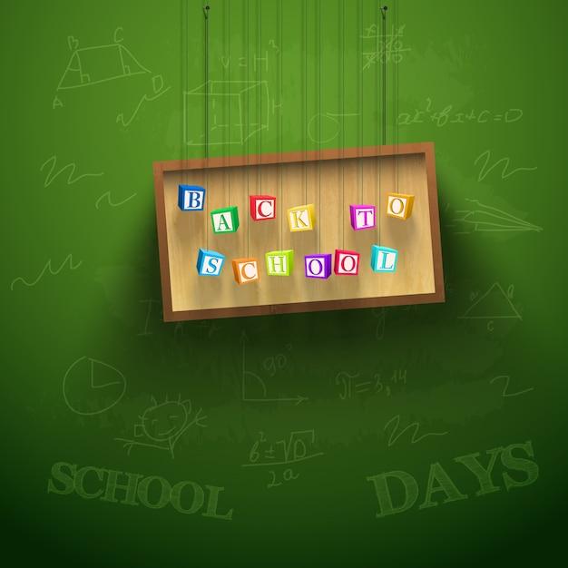 Terug naar schoolachtergrond met hangend bord en kleurrijke brievenblokjes Gratis Vector