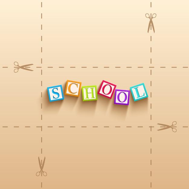 Terug naar schoolachtergrond met kleurrijke kubussen met letters Gratis Vector