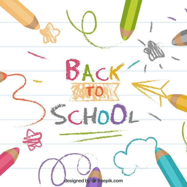Terug naar schoolachtergrond met kleurrijke potloden Gratis Vector