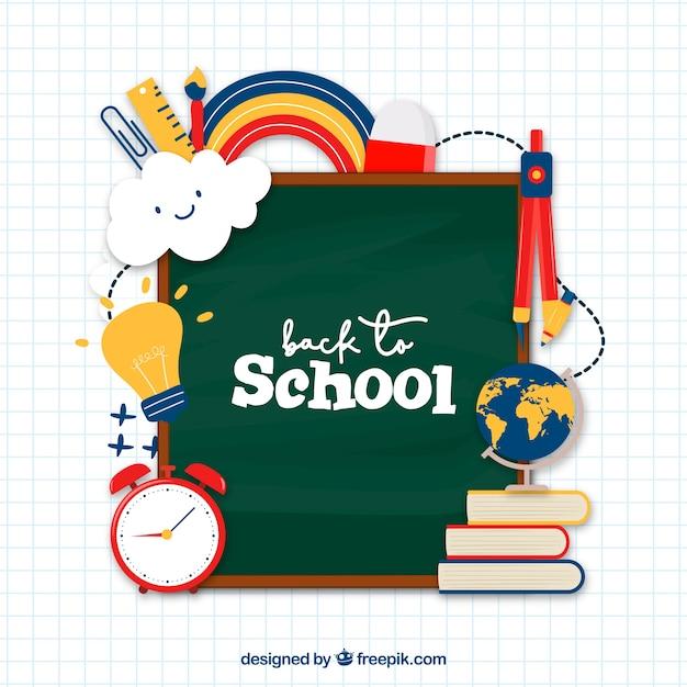 Terug naar schoolachtergrond met verschillende elementen Gratis Vector