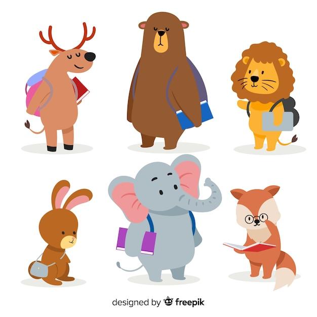 Terug naar schoolcollectie met wilde dieren Gratis Vector