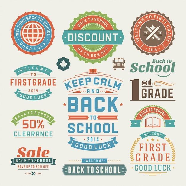 Terug naar schoolelementen verkoopetiketten en geplaatste kentekens Premium Vector