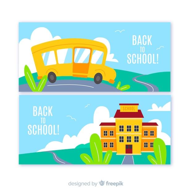 Terug naar schoolillustratie met bus Gratis Vector