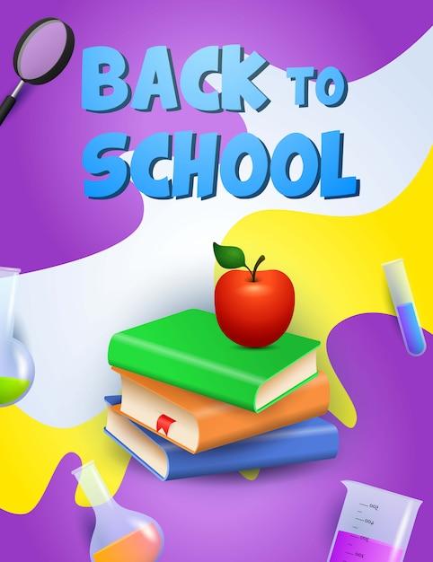 Terug naar schoolontwerp. boeken, appel Gratis Vector