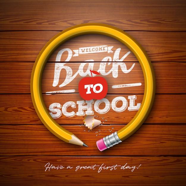 Terug naar schoolontwerp met grafietpotlood en typografie het van letters voorzien op uitstekende houten textuurachtergrond Premium Vector