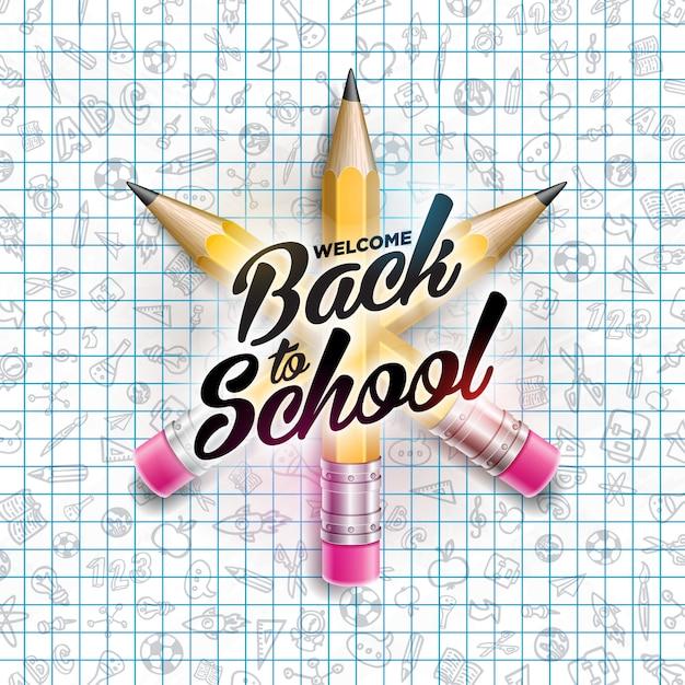 Terug naar schoolontwerp met kleurrijke potlood en ltypographybrief op de vierkante achtergrond van het netboekje Premium Vector