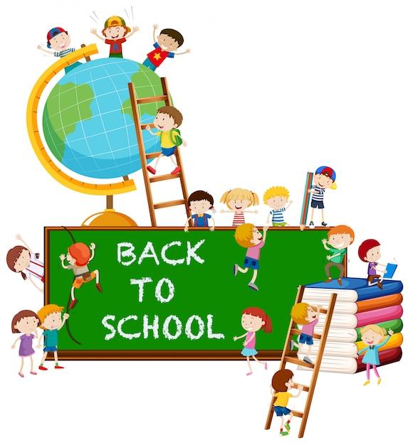 Terug naar schoolthema met kinderen en wereld Gratis Vector