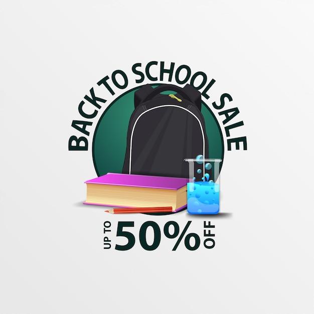 Terug naar schoolverkoop, ronde kortingsbanner met schoolrugzak Premium Vector