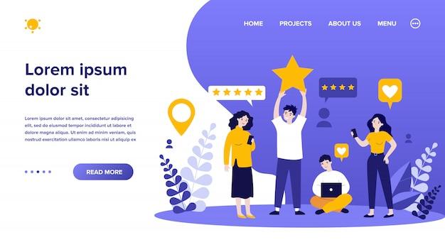 Tevreden klanten die feedback geven aan service of online winkel Premium Vector