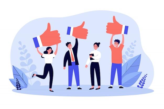 Tevreden klanten die positieve feedback geven over de productkwaliteit Premium Vector