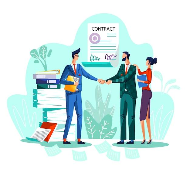 Tevreden zakenlieden schudden elkaar de hand tegen ondertekende overeenkomst Gratis Vector
