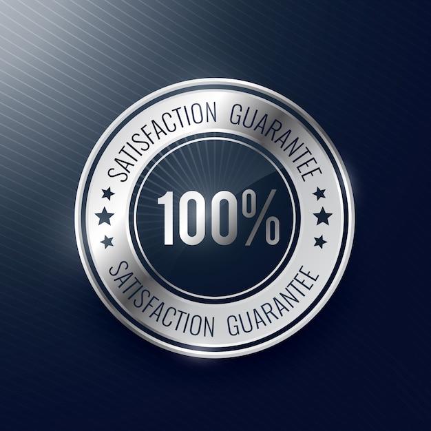 Tevredenheidsgarantie zilver label en badge Gratis Vector