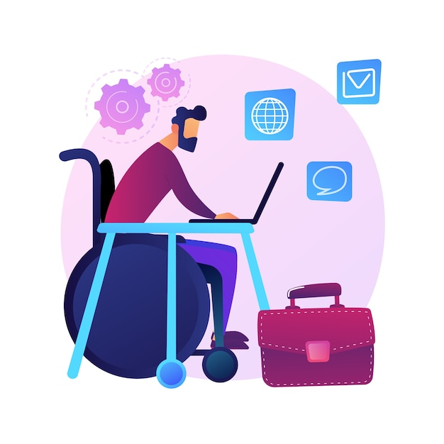 Tewerkstelling van mensen met een handicap. sollicitatiegesprek met gehandicapte persoon op rolstoel. human resources, vacature, carrière. gelijke kansen. Gratis Vector