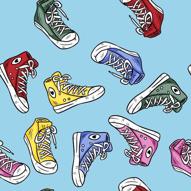 Textiel hipster sneakers met rubberen neus. kleurrijk naadloos patroon Premium Vector