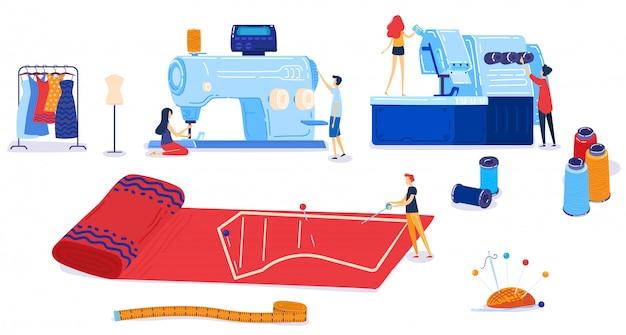 Textielindustrie vector illustratie set. Premium Vector
