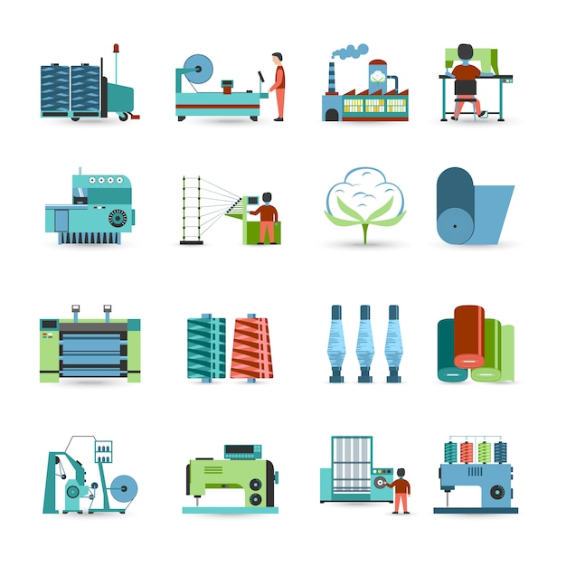 Textile mill flat icons set Gratis Vector